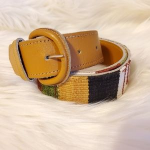 Accessories - Earth tone striped leather belt- size Med/Lg